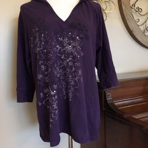 Style & Co Size XL Purple Hooded Top